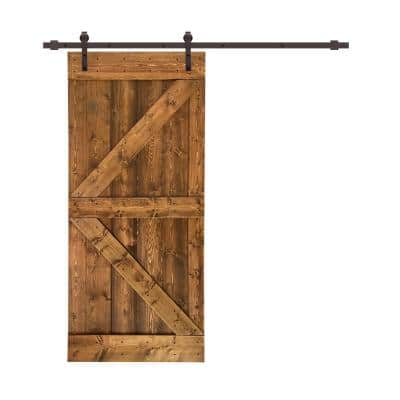 Distressed K 30 in. x 84 in. Walnut Stained Solid Knotty Pine Wood Interior Sliding Barn Door with Hardware Kit