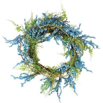 12 in. Unlit Blue Green and Brown Decorative Berry Artificial Spring Twig Wreath
