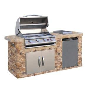 7 ft. Stone Veneer Grill Island with 4-Burner Gas Grill in Stainless Steel