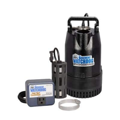 1/2 HP Cast Iron Submersible Sump Pump with Top Discharge and Caged Dual Float Switch and Controller