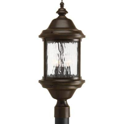Ashmore Collection 3-Light Antique Bronze Water Seeded Glass New Traditional Outdoor Post Lantern Light