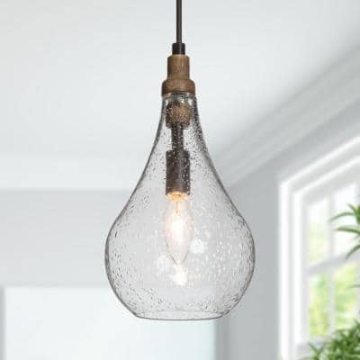 Brown Teardrop Pendant Light, Lany 1-Light Wood Farmhouse Black Island Mini-Pendant Lighting with Seeded Glass Shades