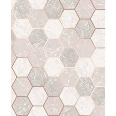Margaret Rose Gold Marble Hexagon Paper Peelable Roll (Covers 56.4 sq. ft.)