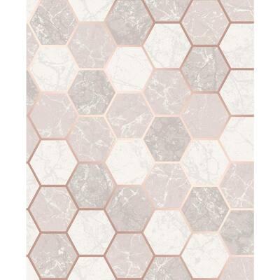 Margaret Rose Gold Marble Hexagon Rose Gold Wallpaper Sample