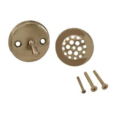Trip Lever Bath Tub Drain Trim-Only Kit with 2-Hole Overflow Plate Polished Nickel