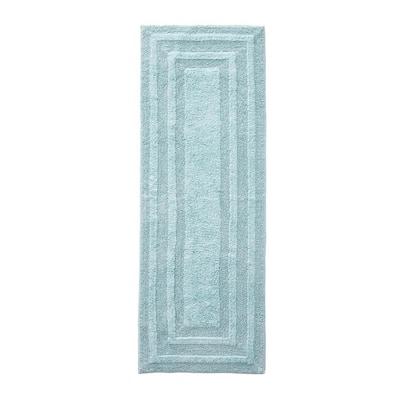 Logan Turquoise Aqua 22 in. x 60 in. Solid Cotton 1-Piece Runner Rug