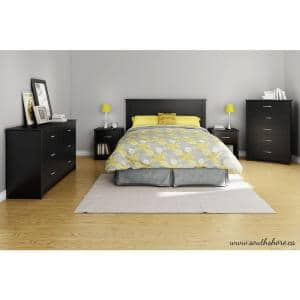 Fusion 1-Drawer Pure Black Nightstand