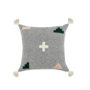 Swiss Zeal Spanish Black Positive Sign Textures Tassels Poly-fill 20 in. x 20 in. Throw Pillow