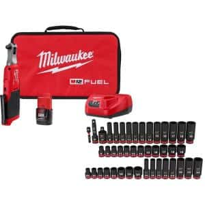 M12 FUEL 12-Volt Lithium-Ion Brushless Cordless 3/8 in. Ratchet Kit with 3/8 in. SAE/Metric Impact Socket Set (43-Piece)