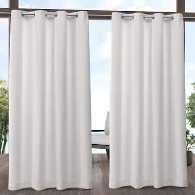 Aztec White 54 in. W x 96 in. L Grommet Top, Indoor/Outdoor Curtain Panel (Set of 2)