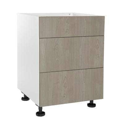 Ready to Assemble Threespine 30 in. x 34.5 in. x 24 in. Stock Drawer Base Cabinet in Grey Nordic