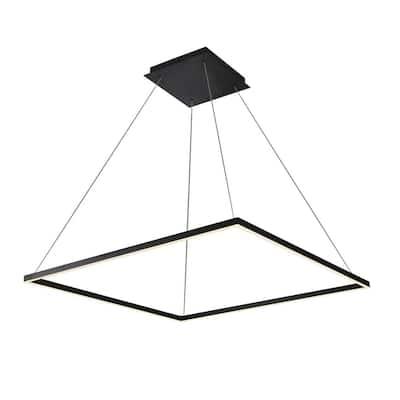 Atria Square 39 in. 64-Watt Black Integrated LED Chandelier