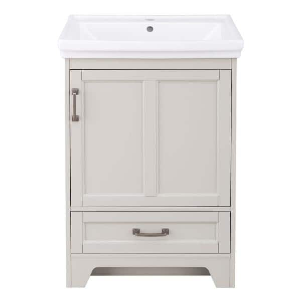 Home Decorators Collection Evie 24 In W X 18 In D Vanity Cabinet In Grey With Vitreous China Vanity Top In White With White Sink Eigvt2418d The Home Depot