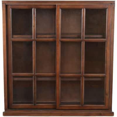 40.2 in. Dark Teak Wood 3-shelf Standard Bookcase with Storage