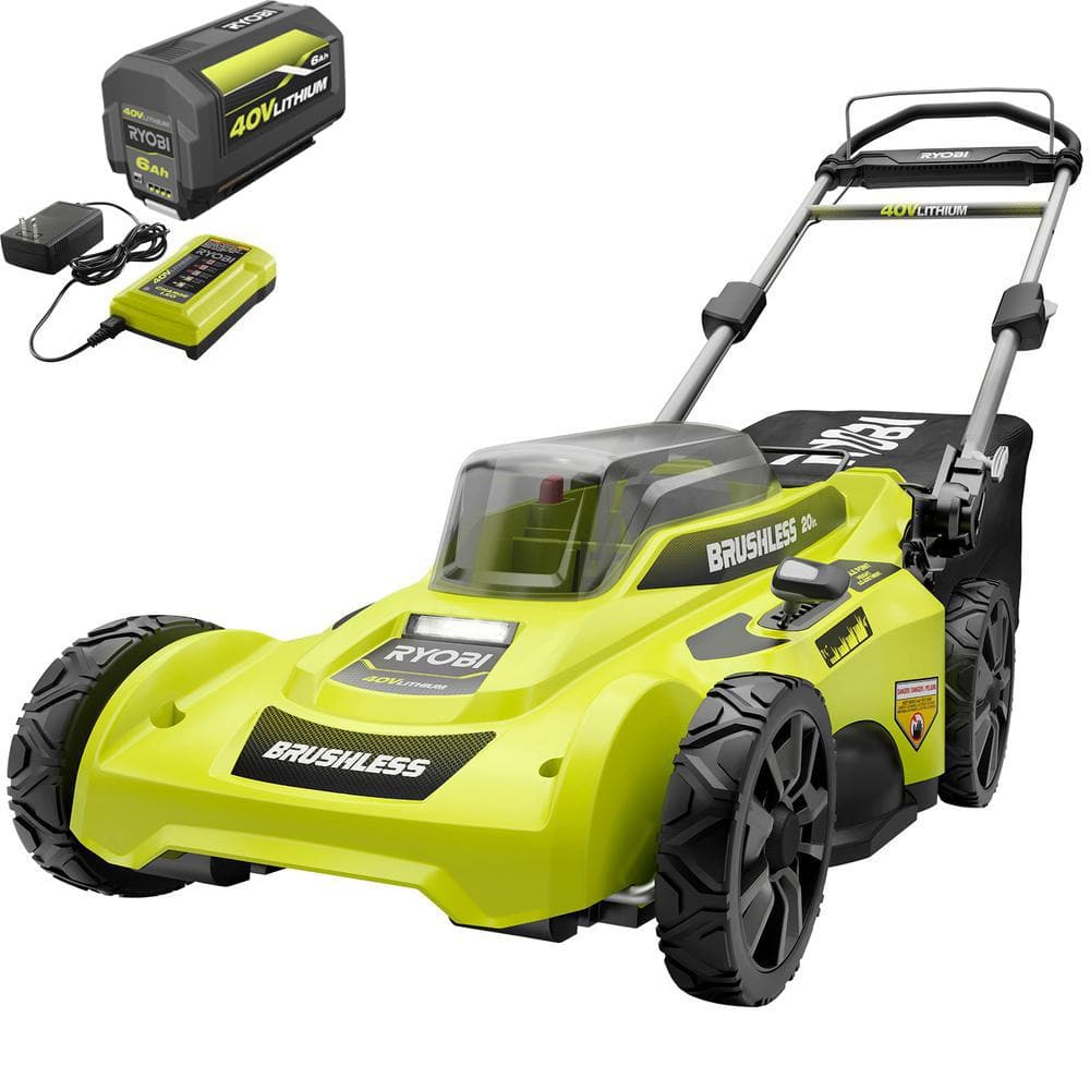 RYOBI 40V Brushless 20 in. Cordless Battery Walk Behind Push Lawn Mower with 6.0 Ah Battery and Charger-RY401110-Y - The Home Depot