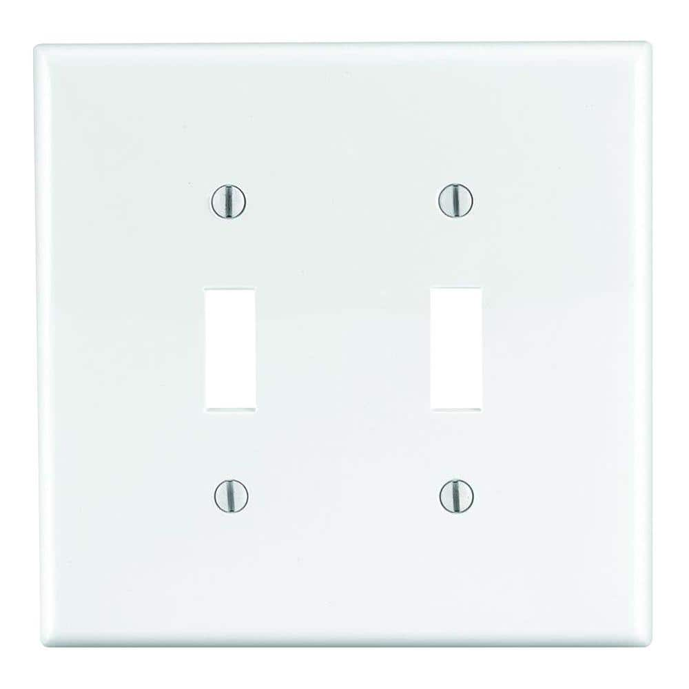 White Toggle Wall Plate 5 Pack Maxxima 2 Gang Decorative