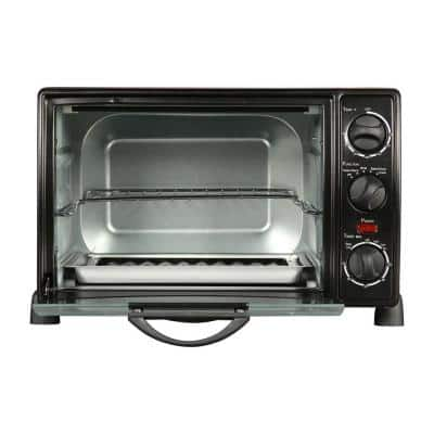 1500 W 6-Slice Black Toaster Oven with Temperature Control