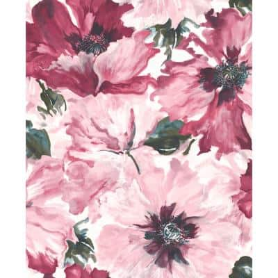 Cecita Metallic Hot Pink, Viridian Green, and White Watercolor Floral Paper Strippable Roll (Covers 56.05 sq. ft.)