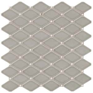 Dove Gray 12.28 in. x 12.8 in. x 8 mm Glossy Ceramic Mesh-Mounted Mosaic Tile (10.9 sq. ft. / case)