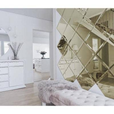 Reflections Gold Beveled Diamond 6 in. x 8 in. Glass Mirror Wall Tile (16 sq. ft./Case)