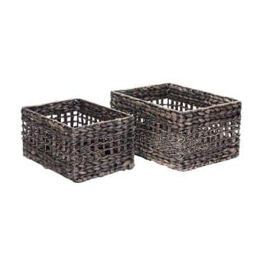 Hand-Woven Water Hyacinth Wicker Rectangular Nesting Baskets in Black (2-Pack)