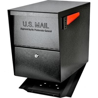 Package Master Locking Post-Mount Mailbox with High Security Reinforced Patented Locking System, Black