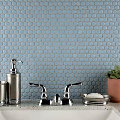 Hudson Penny Round Cashmere Blue 12 in. x 12 in. Porcelain Mosaic Tile (10.74 sq. ft. / Case)