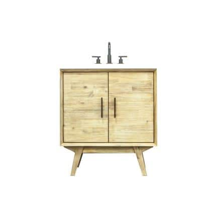 Pritchard 31 in. W x 22 in. D x 34 in. H Vanity in Solid Acacia Wood with Cultured Marble top with White sink