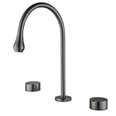 Gay 13.18 in. H 8 in. Widespread Double Handle Bathroom Faucet in Lead Gray