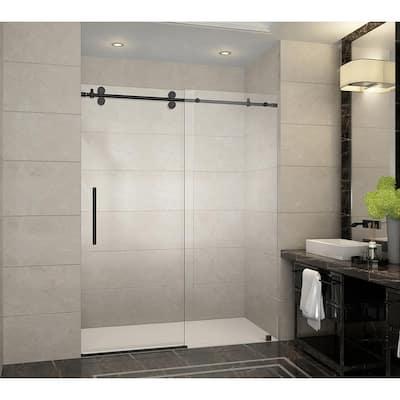 Langham 60 in. x 75 in. Frameless Sliding Shower Door in Oil Rubbed Bronze with Handle