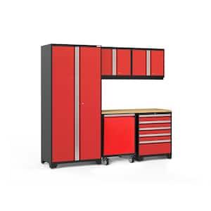 Pro Series 92 in. W x 84.75 in. H x 24 in. D 18-Gauge Steel Garage Cabinet Set in Red (6-Piece)