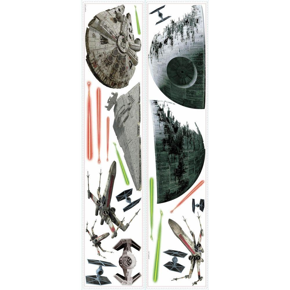 Roommates 5 In W X 11 5 In H Star Wars Ep Vii Spaceships 20 Piece Peel And Stick Wall Decal Rmk3012scs The Home Depot