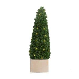 Faux Boxwood Potted Topiary Tree with Lights Green/Cream Small