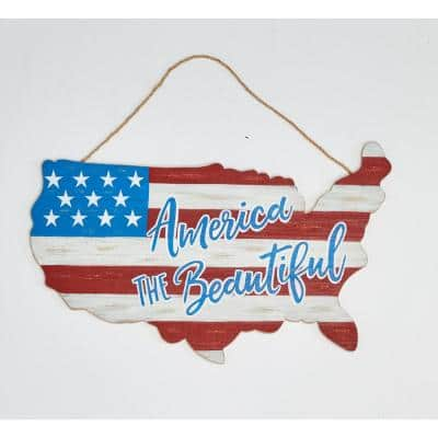 11 in. Distressed Use Wood Americana Map (Set of 2)