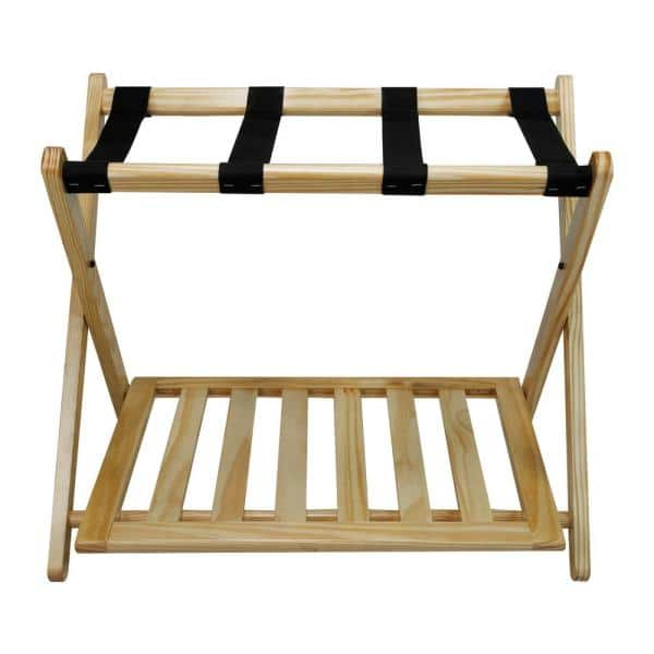 Casual Home 26 75 In W X 16 In D Natural Solid Wood Luggage Rack With Shelf 102 20 The Home Depot