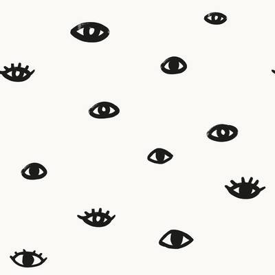 Bobby Berk Eye See You Black & White Peel and Stick Wallpaper (Covers 56 sq. ft.)