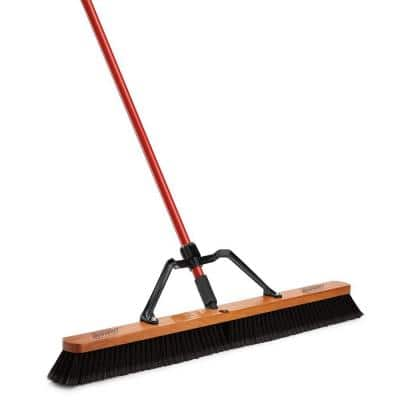 36 in. Smooth Sweep Push Broom Set with Brace and Handle