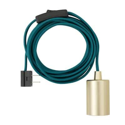 Emile 1-Light Teal and Brass Plug-In Exposed Socket Pendant