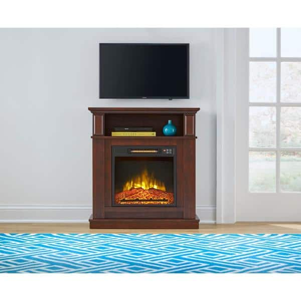 Stylewell Albury 31 In Freestanding Compact Infrared Electric Fireplace In Cherry 18 927 93 The Home Depot