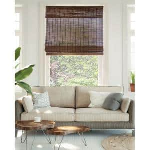 Premium True-to-Size Brown Buffalo Cordless Light Filtering Natural Woven Bamboo Roman Shade 34 in. W x 64 in. L