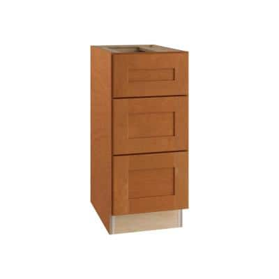 Hargrove Assembled 18x34.5x24 in. Plywood Shaker 3 Drawer Base Kitchen Cabinet Soft Close Drawers in Stained Cinnamon