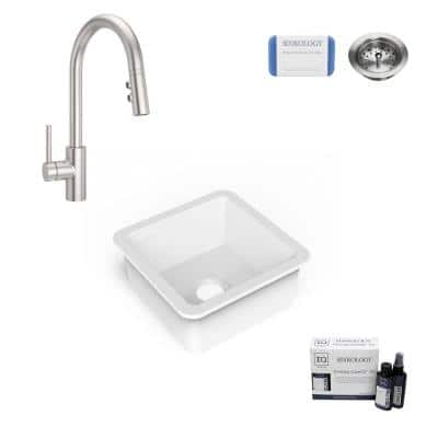Amplify Undermount Fireclay 18.1 in. Single Bowl Bar Prep Sink with Pfister Stellen Faucet in Stainless