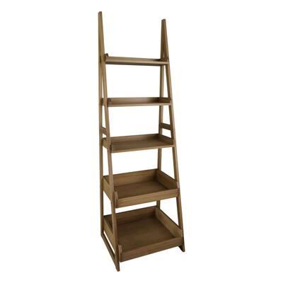 Cascade 74 in. Solid Wood Ladder Bookcase - Alpine Gray