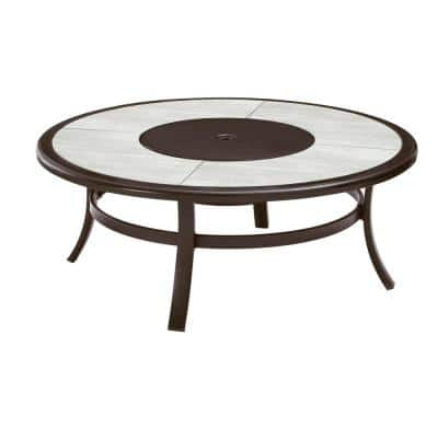 Whitfield 48 in. Round Galvanized Steel Wood Burning Fire Pit Table in Dark Brown with Stone Look Tile Top
