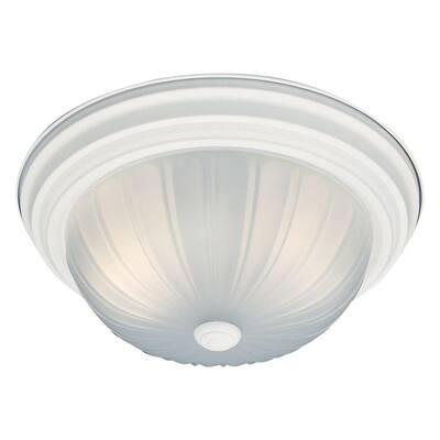 2-Light Textured White Ceiling Flush Mount