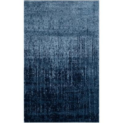 Retro Light Blue/Blue 8 ft. x 10 ft. Area Rug