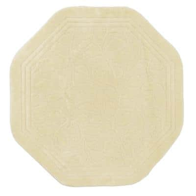 Wellington 6 ft. x 6 ft. Nylon Machine Washable Octagon Bath Mat in Ivory