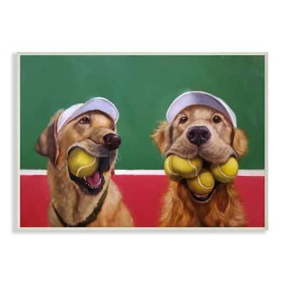 "12.5 in. x 18.5 in. ""Mouth Full Tennis Ball Retriever Dogs Painting"" by Lucia Heffernan Wood Wall Art"