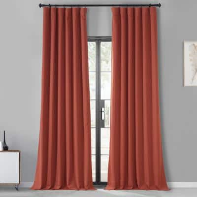 Sunset Orange Performance Woven Blackout Curtain Pair - 50 in. W x 96 in. L (2 Panels)