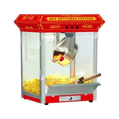 8 oz. Red Countertop Hot Oil Popcorn Machine with Measuring Cup, Measuring Spoon, Popcorn Scoop and Seasoning Shaker